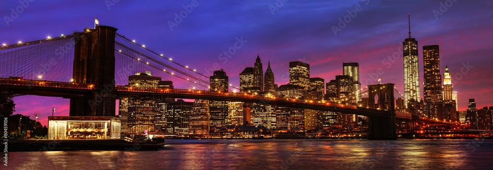Fototapeta Brooklyn Bridge and Manhattan at sunset