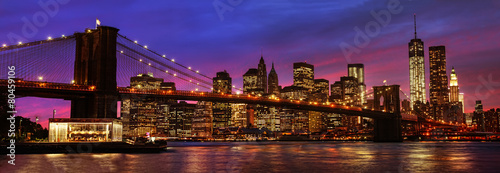 Poster New York Brooklyn Bridge and Manhattan at sunset