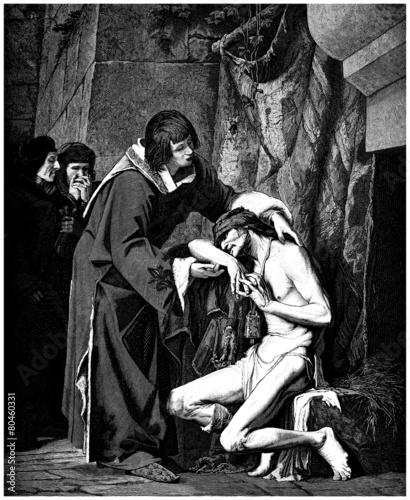 Stampa su Tela Louis IX & the Leper - St Louis et le Lépreux - 14th century