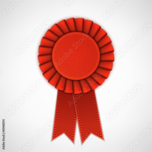 Red Realistic Textile Rosette with Ribbons. Wallpaper Mural