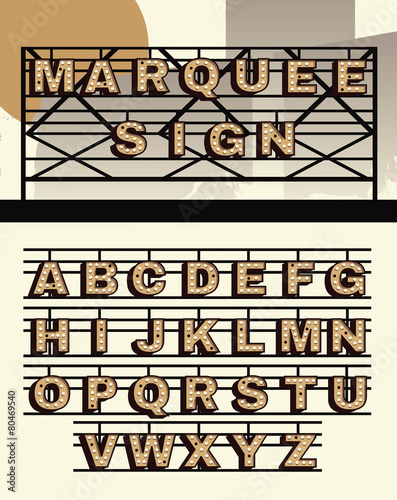 retro style vector marquee sign letters