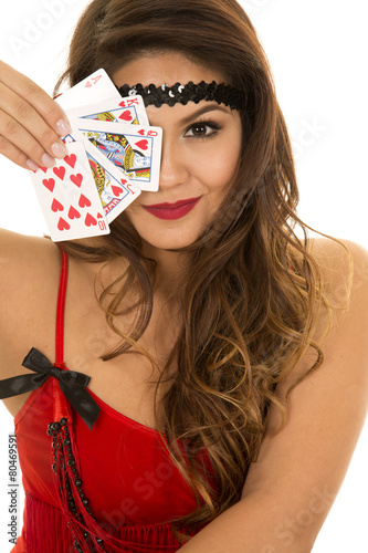 flapper girl with cards close over one eye плакат