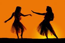 Silhouette Of Hawaiian Woman G...