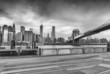 Black and white view of Manhattan from Brooklyn Bridge Park, New