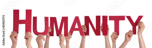Fotografie, Obraz  Many People Hands Holding Red Straight Word Humanity