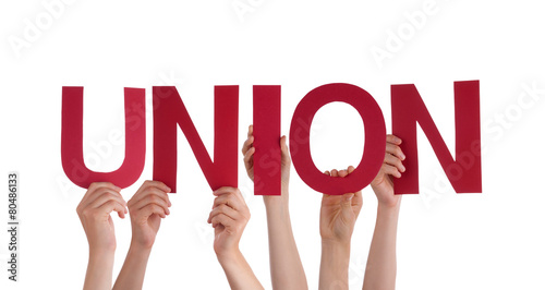 Cuadros en Lienzo Many People Hands Holding Red Straight Word Union