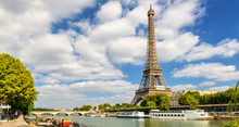 Eiffel Tower And Blue Sky, Paris, France. Panorama Of Seine River In Summer.