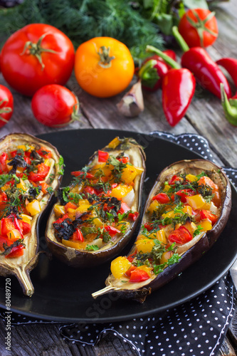 Stuffed eggplant with fried vegetables Poster