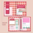 pink houndstooth background half-fold brochure
