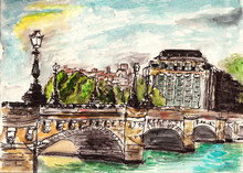 Watercolor Paris Street