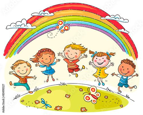 fototapeta na szkło Dzieci skacze z radością w Rainbow