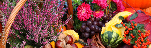 Autumn flowers, vegetables and fruits #80505365