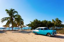 Old Classic Car On The Beach O...