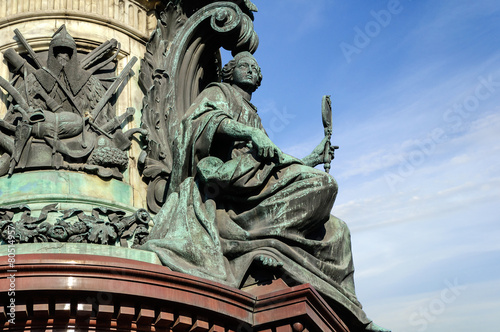 "Fényképezés  Sculpture ""Wisdom"" on the monument to Emperor Nicholas I"