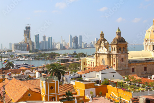 Poster South America Country View of the historic center of Cartagena, Colombia