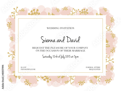 Fototapeta Wedding Invitation Card With Pink Flower Frame Vector Design