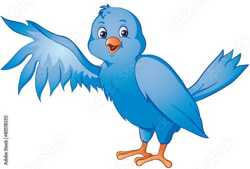 Tuinposter Sprookjeswereld blauer Paradiesvogel Kanarienvogel