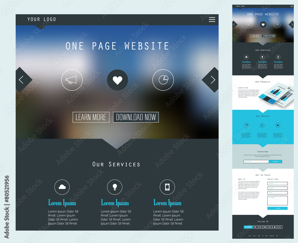 Fototapety, obrazy: One Page Website Design