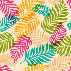 Obraz na PlexiVector seamless pattern of colorful palm tree leaves. Nature org