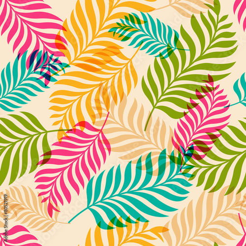 Vector seamless pattern of colorful palm tree leaves. Nature org - 80521919