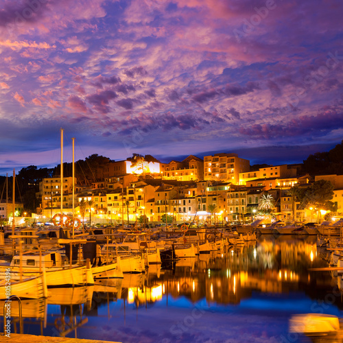 City on the water Port de Soller sunset in Majorca at Balearic island