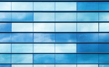 Blue Glass And Steel Frame, Background Texture