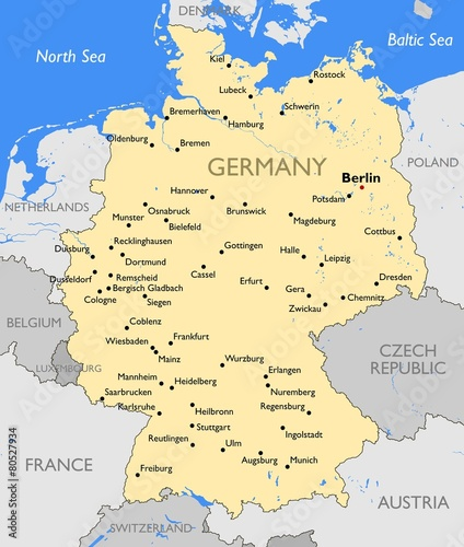 Germany map Wallpaper Mural