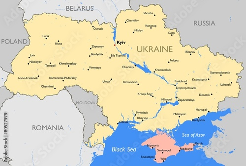 Ukraine map Canvas Print