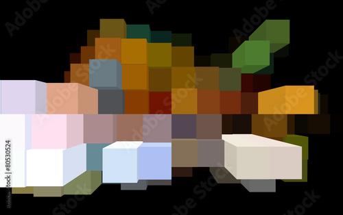 Fototapety, obrazy: Blocchi quadrati multicolore su fondo nero