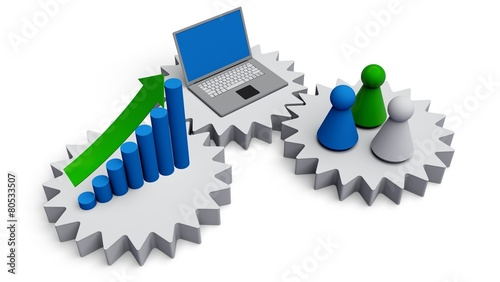 Fotografia  Computer Software. 3D. Business work concept