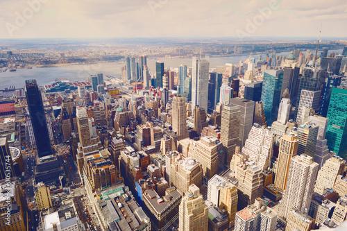 Tuinposter Singapore New York City Manhattan skyline aerial view