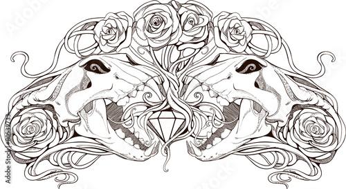 Foto op Canvas Klassieke abstractie image of two simmetric skulls with roses
