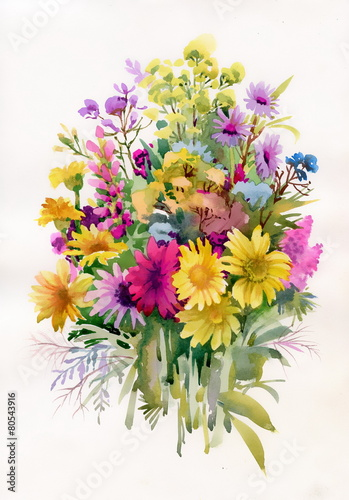 Bouquet of colorful wildflowers - 80543916