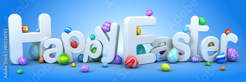 Fotografie, Obraz  Happy Easter background with eggs