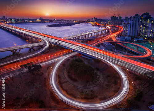 Mapo bridge and Seoul cityscape in Korea. Poster