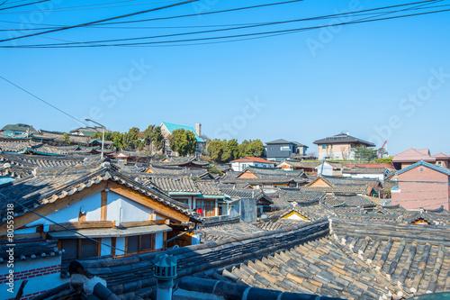 Poster Seoel Bukchon Hanok Village,Traditional Korean style architecture in S