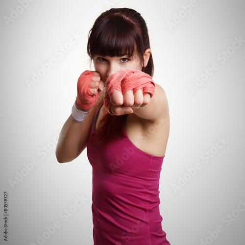 obraz lub plakat Frau beim Boxtraining