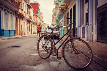 Old bicycle on the street, Havana, Cuba, 20 december 2014.