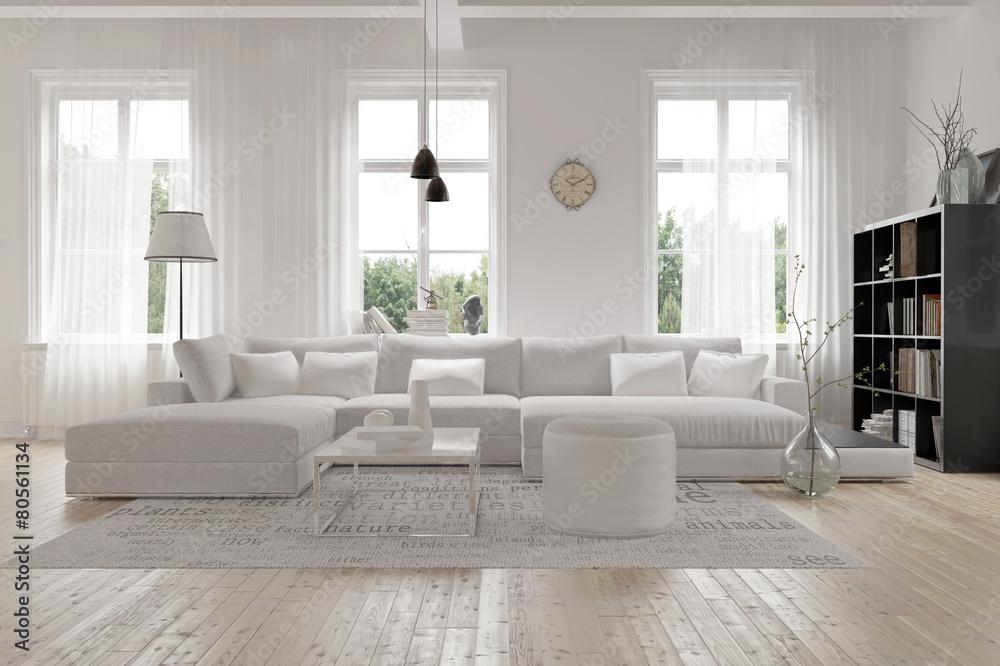 Fototapeta Modernes geräumiges Wohnzimmer im skandinavischen Design