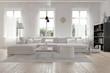 Leinwanddruck Bild - Modernes geräumiges Wohnzimmer im skandinavischen Design