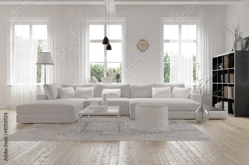 Fotografie, Obraz  Modernes Wohnzimmer geräumiges im skandinavischen design