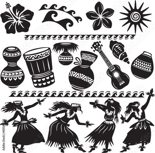Zestaw hawajski z tancerzami i instrumentami muzycznymi