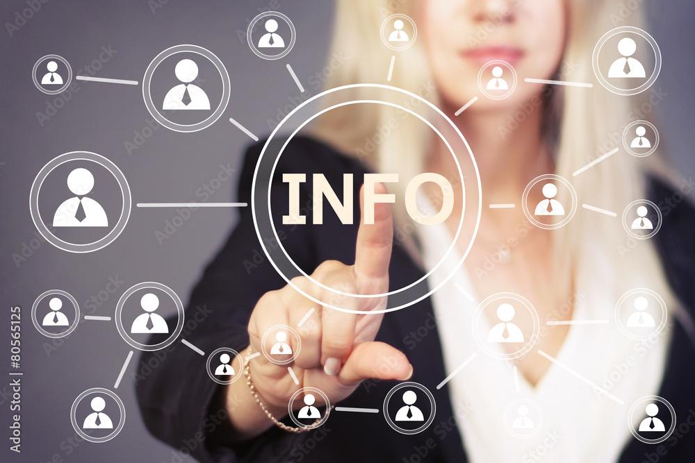 Fototapeta Businesswoman button info icon information web