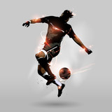 Fototapeta sport - abstract soccer jumping touch ball
