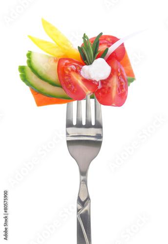 Printed kitchen splashbacks Fresh vegetables Fresh colorful vegetables on fork, isolated on white