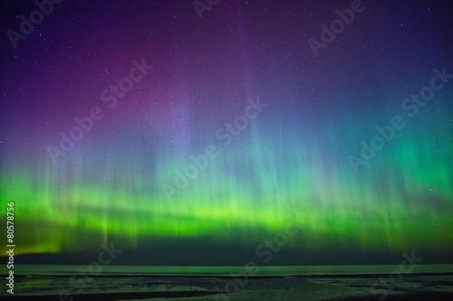 Photo  Beautiful Aurora Borealis over sea
