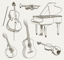 Set Of Musical Instruments Drawings