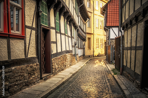 Acrylic Prints Narrow alley In den engen Gassen von Wernigerode