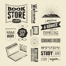 Bookstore Typography Vector Se...