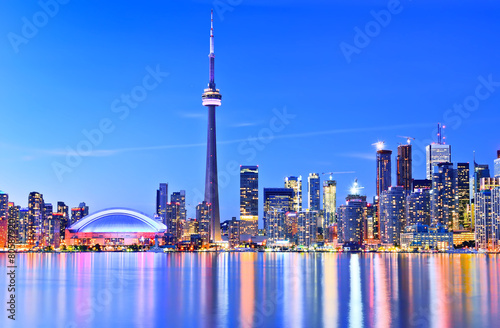 Panorama of Toronto skyline in Ontario, Canada.